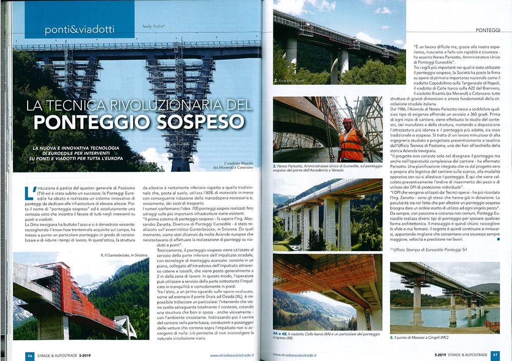 """Cantiere viadotto Bisantis di Catanzaro su """"Strade & Autostrade"""" 05/2019"""